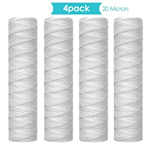 """Membrane Solutions 20 Micron 10"""" String Wound Sediment Water Filter Cartridge,Whole House Sediment Filtration, Universal Replacement for Any 10 inch RO Unit"""