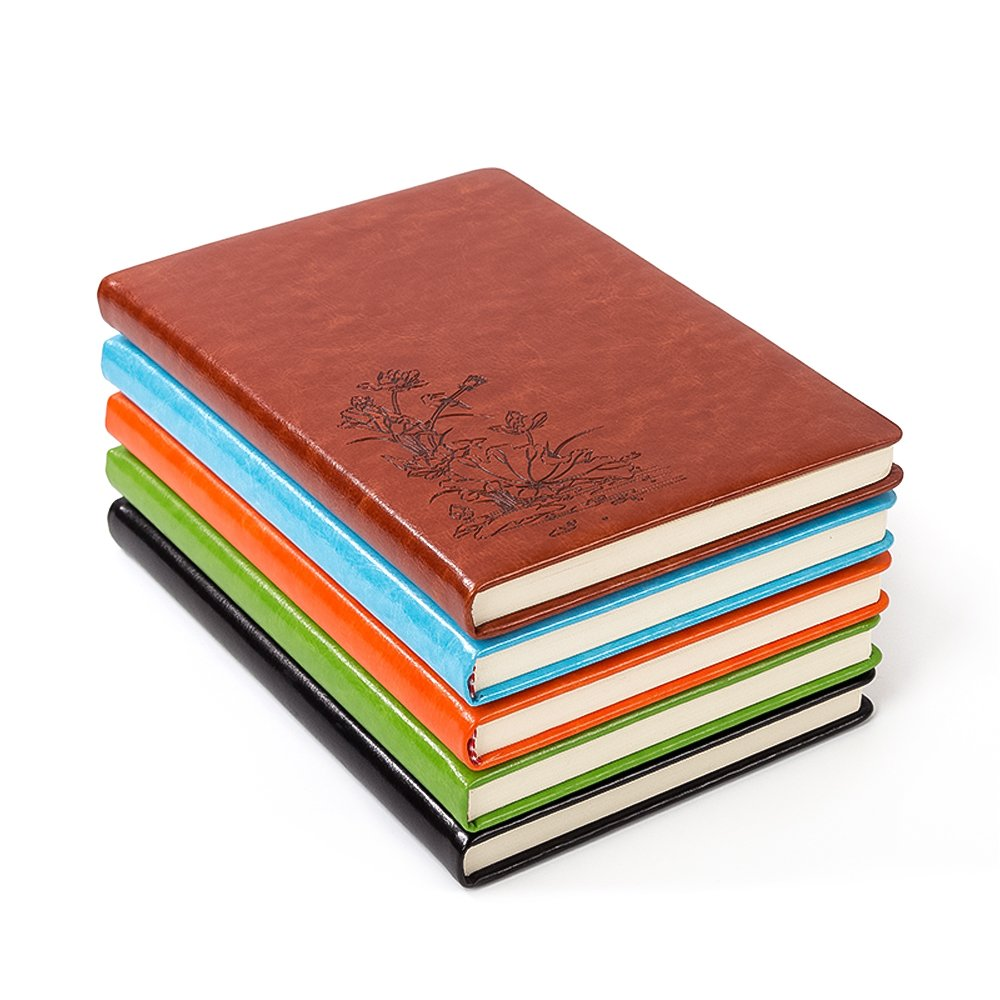 Ya Jin PU Leather Lotus Embossed Ruled Notebook, A5 Softcover Office Travel Journal Diary Memo Book, Green