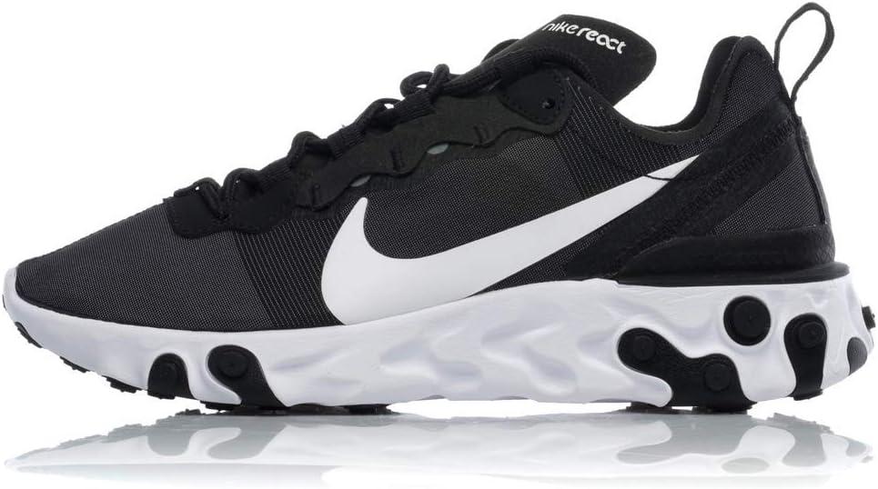 Nike W React Element 55, Zapatillas de Running para Mujer, Negro (Black/White 003), 44.5 EU: Amazon.es: Deportes y aire libre