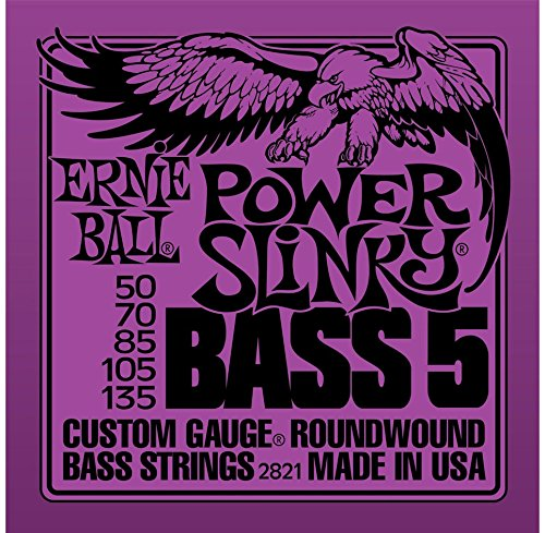 2 Sets of Ernie Ball 2821 Nickel RoundWound Power Slinky 5-String Bass Strings (50-135)