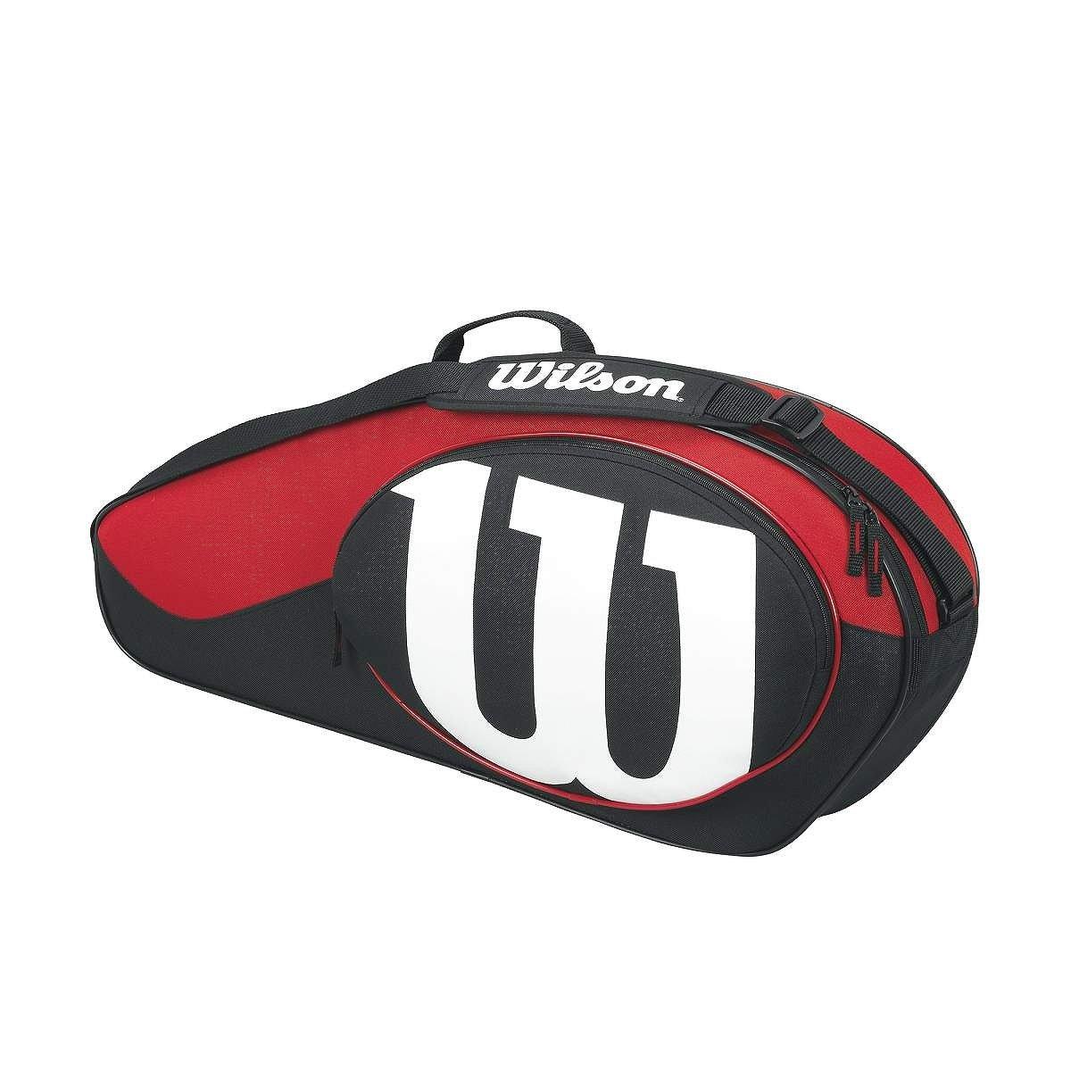 Wilson Match II Racquet Bag, Black/Red, holds 3 Racquets