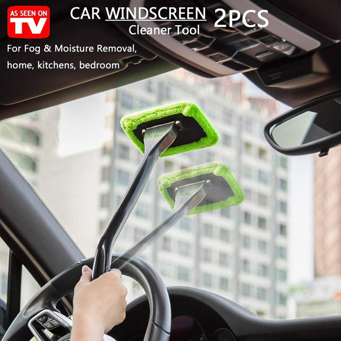GREEN DSHT 2 Pack Car Windscreen Cleaner Tools From Inside Window Glass Cleaning Tools For Home Kichens With Cloth and Long Handle