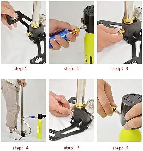 Pompa dellaria ad alta pressione in acciaio inossidabile Small oil water separator gonfiatore della pompa dellaria con manometro adatto per bombola di ossigeno in fibra di carbonio nera