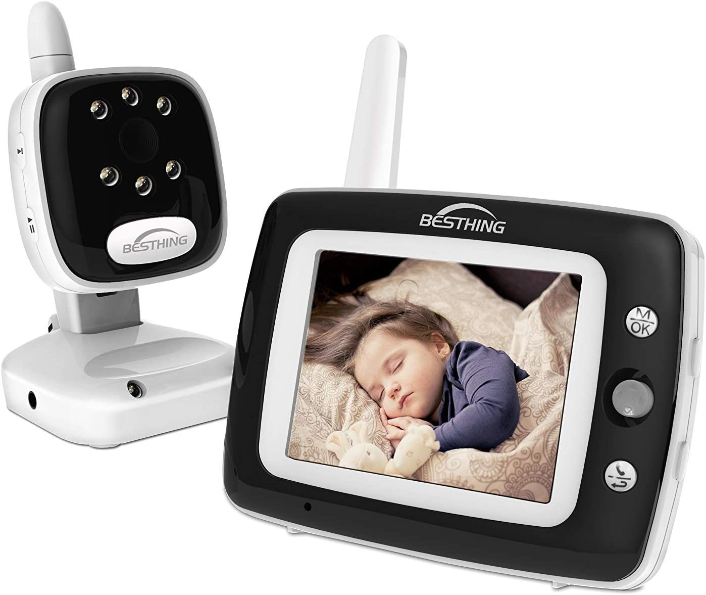 BESTHING Baby Monitor, Digital Video Baby Monitor with Camera, 3.5 Inch Color Screen, Long Range Wireless Monitoring, Night Vision, Soothing Lullabies, Two Way Audio and Temperature Display(Black)