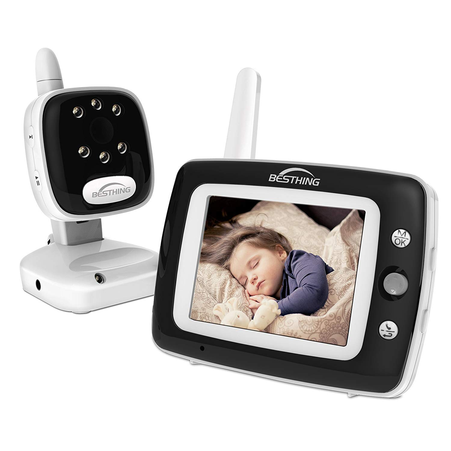 [2019 New Version] Digital Baby Monitor with Camera, 3.5 Inch Color Screen, Long Range Wireless Monitoring with Night Vision, Soothing Lullabies, Two Way Audio and Temperature Display by BESTHING (Image #1)