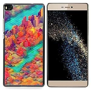 "Qstar Arte & diseño plástico duro Fundas Cover Cubre Hard Case Cover para Huawei Ascend P8 (Not for P8 Lite) (Colorful Pixel Bloquear City"")"