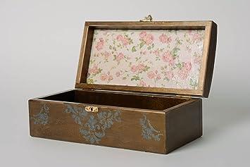Caja de madera hecha a mano en tecnica de decoupage rectangular: Amazon.es: Hogar