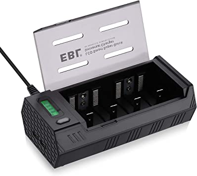 EBL 908 Chargeur Universel Rapide pour Piles Rechargeables AA AAA CD 9V NI MH NI CD avec Écran LCD