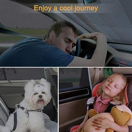 Kaome 2 1 Sonnenschutz Auto Sonnenblende Baby Mit Uv Schutz Fürs Auto Kinder Hund Seitenscheibe Frontscheibe Universal Atmungsaktive Dehnbare Netz Abschirmung Auto