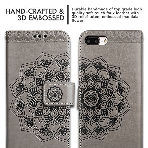 iPhone 8 Plus Case,iPhone 7 Plus Flip Embossed Leather Wallet Cases with Protective Detachable Slim Case Fit Car Mount,CASEOWL Mandala Flower Design with Card Slots, Strap for iPhone 7/8 Plus[Gray] by CASEOWL (Image #8)