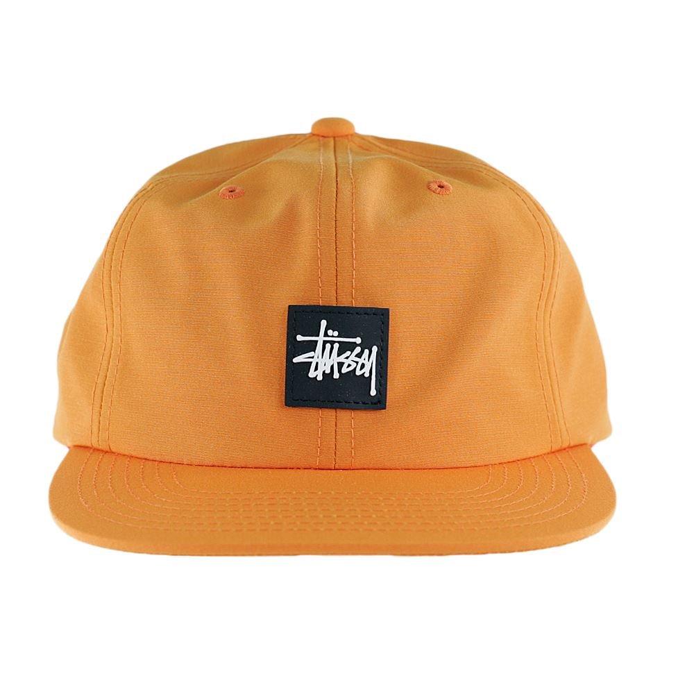 145b91a2db6 Stussy Stock Rubber Patch Snapback Hat Orange  Amazon.co.uk  Clothing