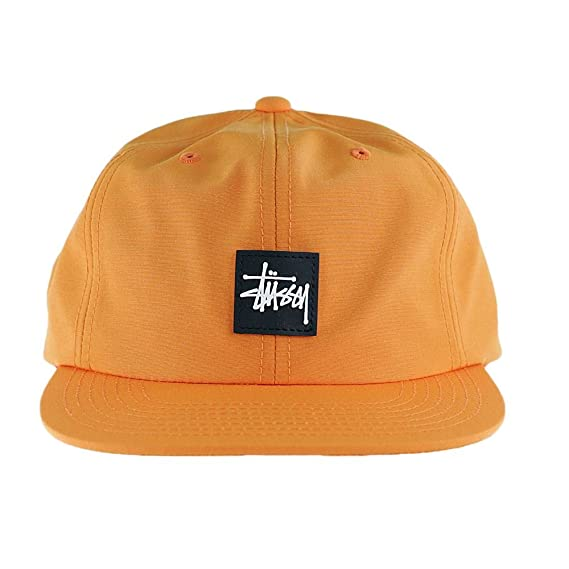 Stussy Stock Rubber Patch Snapback Hat Orange  Amazon.co.uk  Clothing d2253a53b9e0