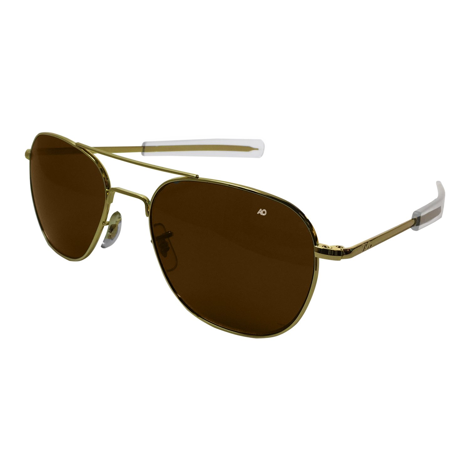 AO Eyewear American Optical - Original Pilot Aviator Sunglasses with Bayonet Temple and Gold Frame, Cosmetan Brown Glass Polarized Lens