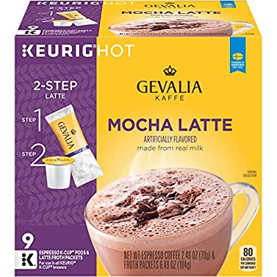 GEVALIA Mocha Latte, K-CUP Pods and Froth Packets, 9 Count (Pack Of 4)