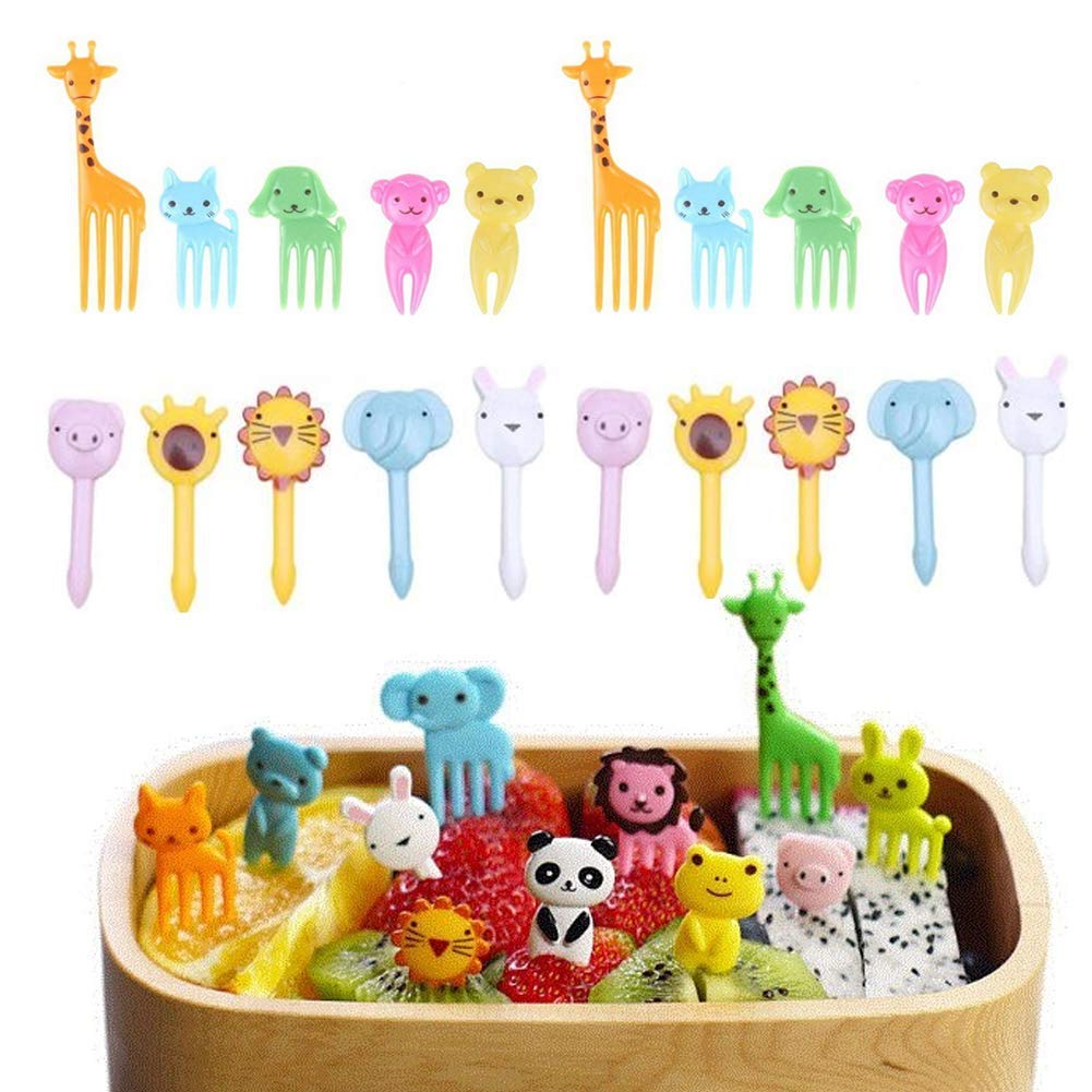 Hofumix Food Picks Fruit Forks Cake Little Forks Dessert Forks Kids Cocktail Sticks Mini Cartoon Animal Forks for Bento Lunch Box, Sandwich, Appetizer, Party Pastry 20pcs
