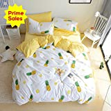 ORoa Bedding Sets Twin 3 Pieces Kids Girls Fruit Pie Yellow Pineapple Print 100 Cotton Luxury Soft Duvet Cover Twin with Pillowcases Best Bedding for Children Teen Twin Size,Pineapple