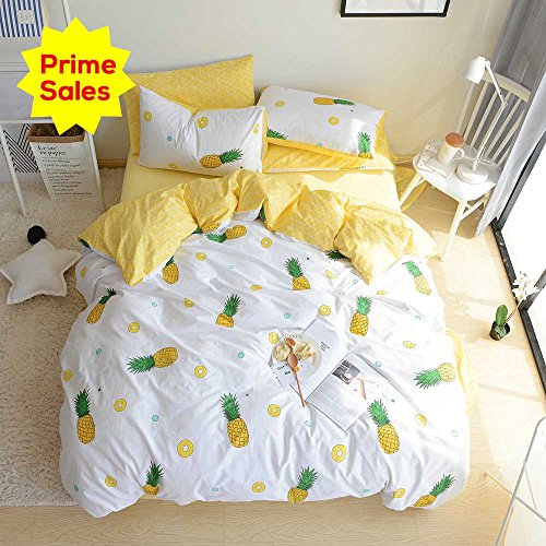 ORoa Bedding Sets Twin 3 Pieces Kids Girls crops Pie Yellow Pineapple art print 100 Cotton Luxury comfortable Duvet Cover Twin by means of  Pillowcases greatest Bedding for young people Teen Twin Size,Pineapple