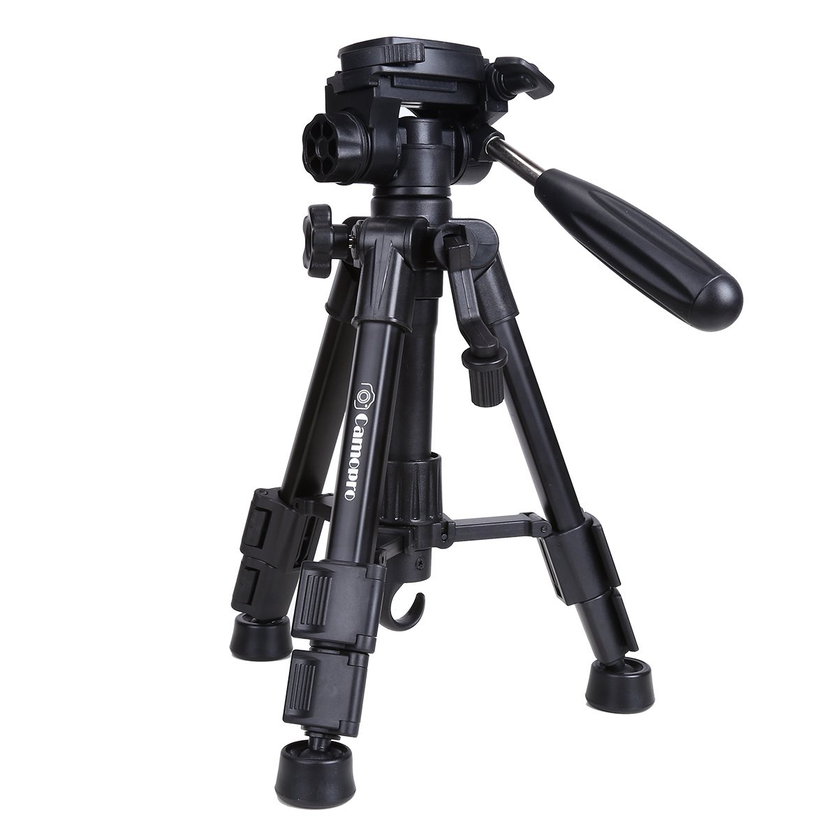 Mini Tripod - Camopro Portable Desktop Mini Tabletop Tripod for SLR DSLR Camera iPhones Smartphones Binoculars and Camcorder with 3-Way Head, Quick Release Plate and Carrying Bag by Camopro