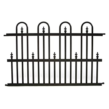 Specrail Roxbury ROXBURY24SP Aluminum Garden Fence Standard Panel, 24 By 36  Inch, Black