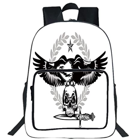 Amazon Com 19 Large Casual Backpack Eagle Black And White Bird