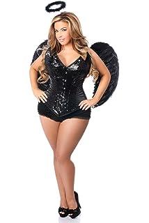 9cdbd76d1a3 Daisy Corsets Women s Plus-Size Plus Size 4 Pc Sequin Black Angel Corset  Costume