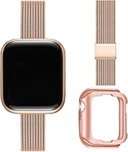 ZXCASD Slim Watch Band Compatible with Apple Watch Band 38mm 40mm 42mm 44mm for Women Girls, Stainless Steel Mesh Strap Replacement for iWatch SE iwatch Series 6/5/4/3/2/1 (Rose Gold, 42mm 44mm)