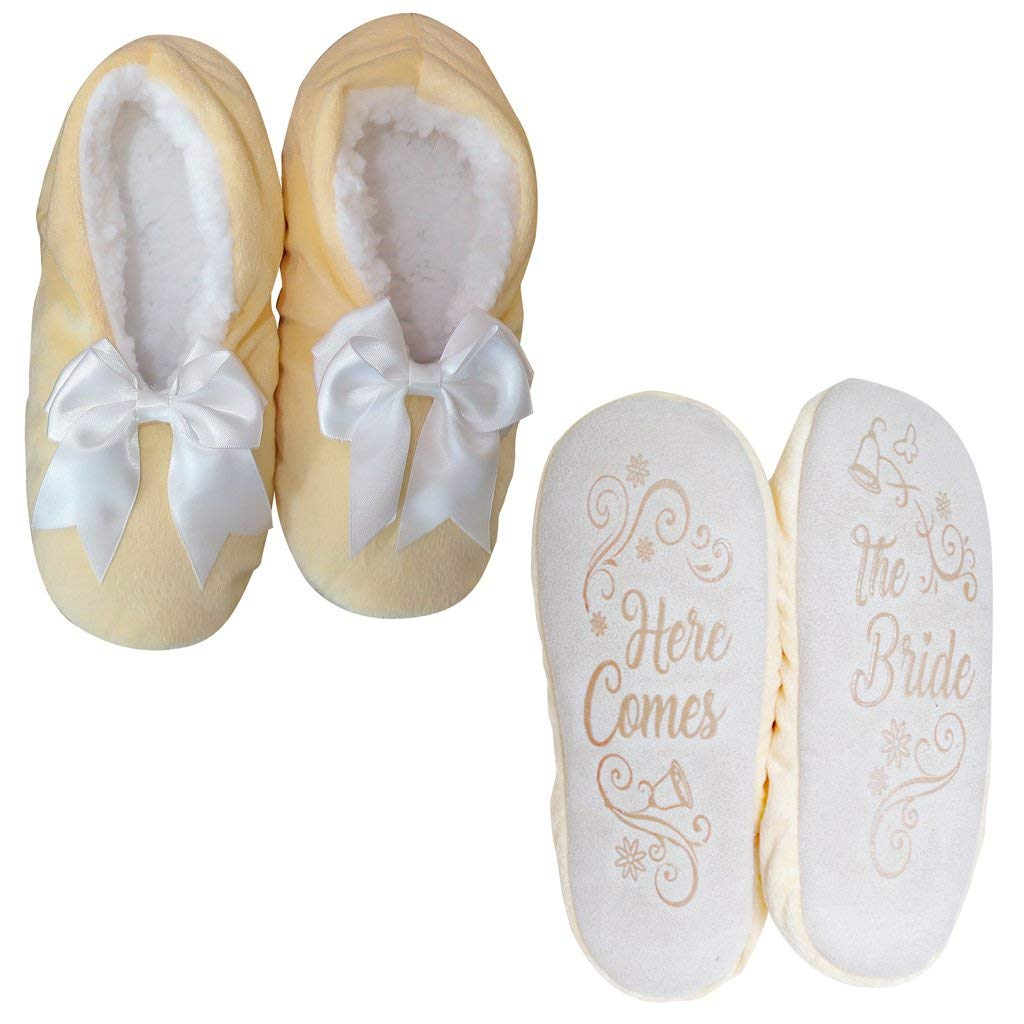 Faceplant Dreams ''Here Comes The Bride Yellow Bow Slippers Footsies (Medium 7/8)
