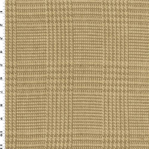Glen Plaid Fabric (Tanned Beige/Brown Linen Glen Plaid Home Decorating Fabric, Fabric by The Yard)