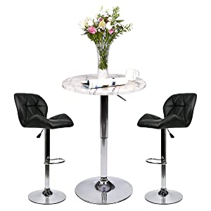 Bar Table Set of 3 – Adjustable Round Table and 2 Swivel Pub Stools for Home Kitchen Bistro, Bars Wine Cabinets (Set 7.1)