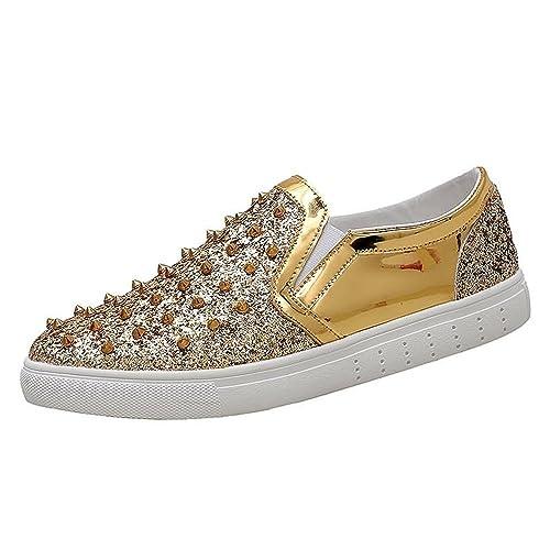 Shufang-shoes, Mocasines de Papel para Hombre, Color Dorado, Talla 41 EU: Amazon.es: Zapatos y complementos