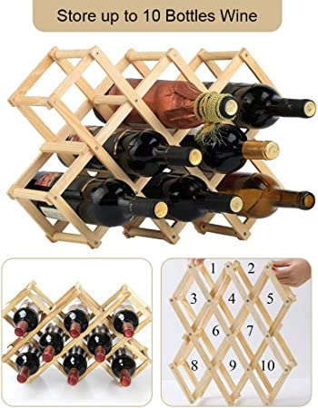 CODIRATO Botellero de Madera Estante para Botellas de Vino, Organizador de Vino Plegable Vinoteca de Madera para Botella de Vino, Botella de Cerveza, 10 Botellas de Almacenamiento