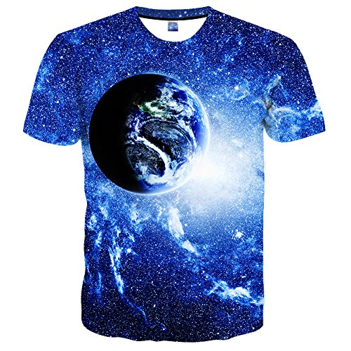 Neemanndy Unisex 3D Dgital Printed Earth & Galaxy Space Realistic Personalized Pattern Crewneck Short Sleeves t Shirts, ()