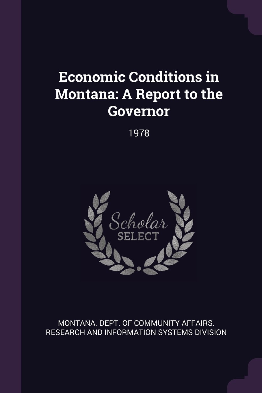 Read Online Economic Conditions in Montana: A Report to the Governor: 1978 pdf epub