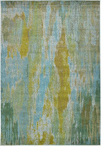 Unique Loom Jardin Collection Vibrant Abstract Turquoise Area Rug (6' 0 x 9' 0)
