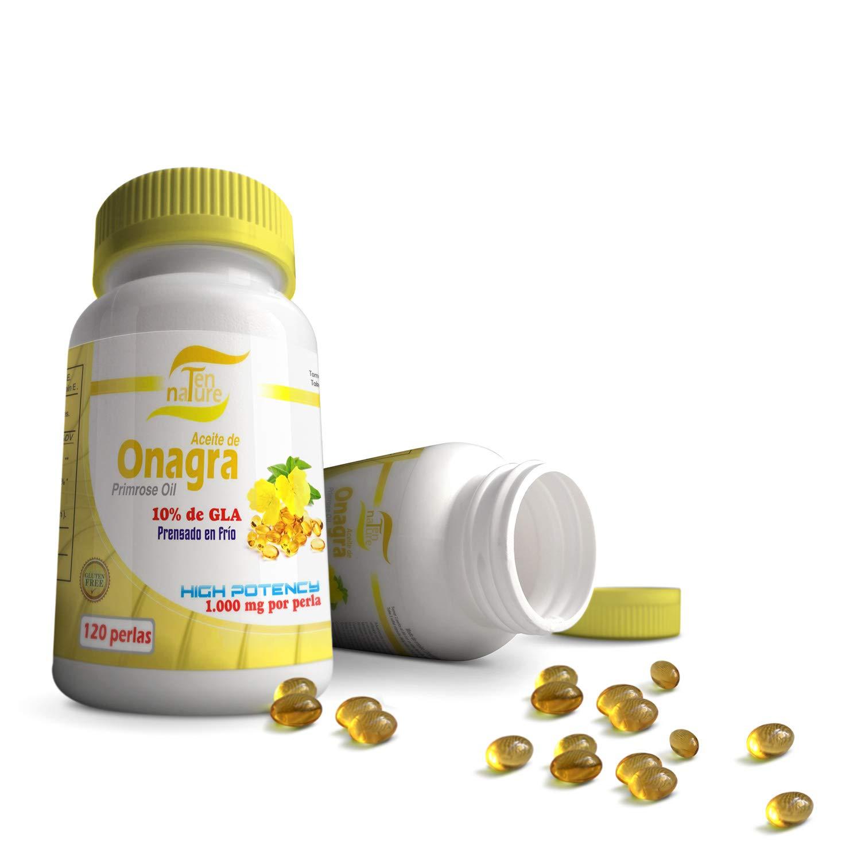 Aceite de Onagra 1000mg x 120 perlas + Vitamina E | Calidad Premium | Prensado en frío | 10% de ácido gamma linoleico (GLA) | 100% Natural NO GMO ...