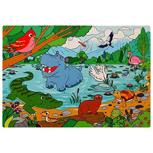 Peaceful Lake Floor Foam Puzzle - 54 Soft Pieces - 12x18 Inches Mat - Educational Toy for Preschoolers and Toddlers, by Premium - Shipping Lakeside Free