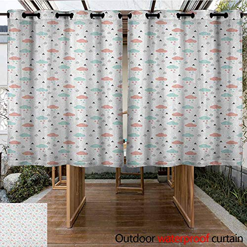 AndyTours Custom Outdoor Curtain,Pastel,Scandinavian Design Clouds with Raindrops and Triangles Weather in Winter,for Porch&Beach&Patio,K140C183 Baby Blue Blush Grey