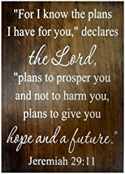 eThought Sign - For I Know the Plans I Have for You Declares the Lord, Plans to Prosper You and Not to Harm You, Plans to Give You Hope and a Future, Jeremiah 29:11