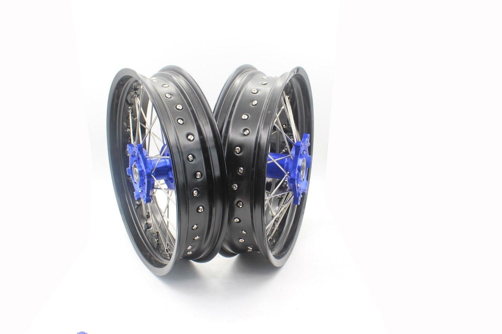 KKE YAMAHA 3.5×17/4.25×17 SUPERMOTO MOTARD WHEELS SET WR250R 2008-2017 BLUE HUB BLACK RIM
