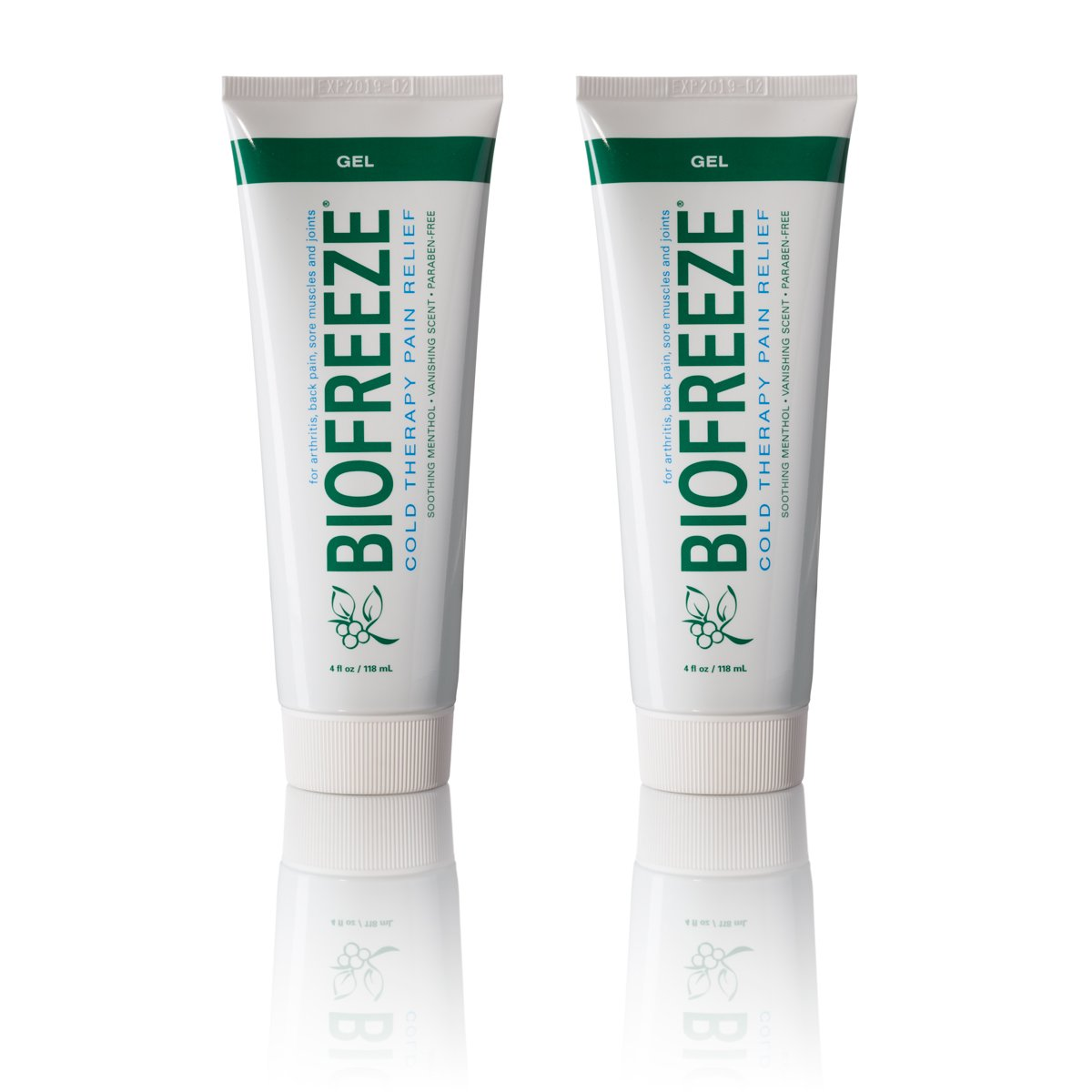 Biofreeze Pain Relief Gel for Arthritis, 4 oz. Cold Topical Analgesic, Fast Acting Cooling Pain Reliever for Muscle, Joint, Back Pain, Works Like Ice Pack, Original Green Formula, 2 pack, 4% Menthol