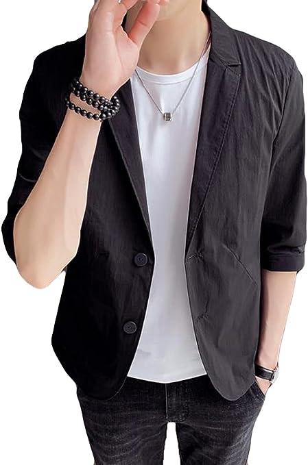 AOZUOテーラード ジャケット メンズ 7分袖 薄 サマー ジャケット 細身 メンズ カジュアル おしゃれ ジャケット ビジネス アウター ストレッチ 通気性 アウター