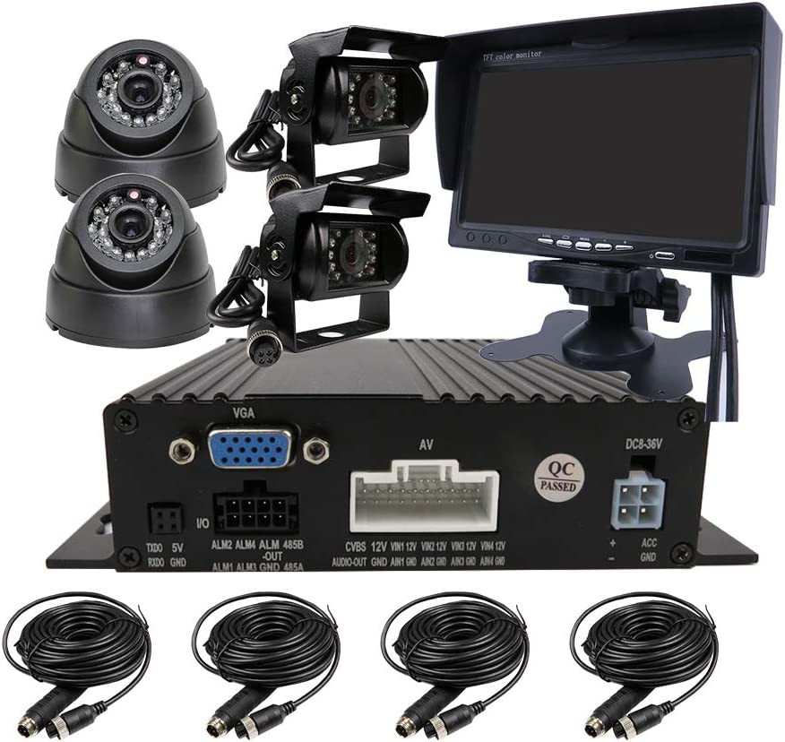 JOINLGO 4 Channel H.264 720P AHD Dual SD Vehicle Mobile Car Dvr MDVR Real-time Surveillance Video Recorder System with 4 Back Rear View InCar Dome Car Cameras 7 inches VGA Car Screen for Truck Bus RV