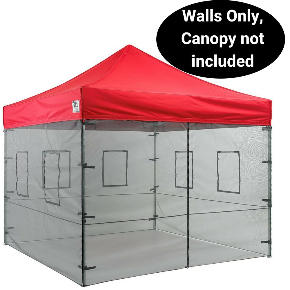 Impact Canopy 10 x 10 Canopy Tent Walls, Food Service Mesh Sidewall Kit with Service Windows, 4 Walls ONLY, Black Mesh
