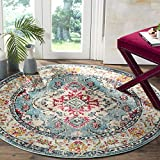 Safavieh Monaco Collection MNC243J Vintage Bohemian Light Blue and Fuchsia Distressed Round Area Rug (5′ in Diameter) For Sale