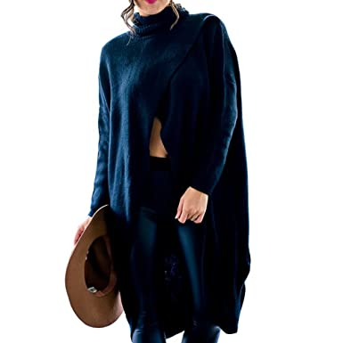 45376a2da0 Hizqueen Women s Irregular Hem Casual Long Sleeve Slit Front Pullover  Sweater Dress Black S