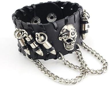 Bullet New Mens Adjustable Leather Punk Design Bracelet UK Made Gothic Wristband