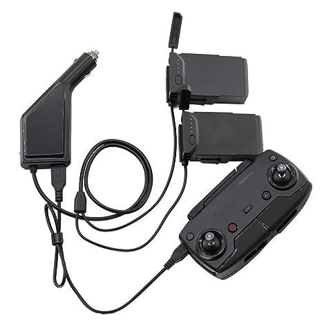 DJI Mavic Air Cargador de Coche, 3 en 1 Cargador Adaptador para 2 DJI Mavic Air Battery + 1 mando a distancia (Negro)