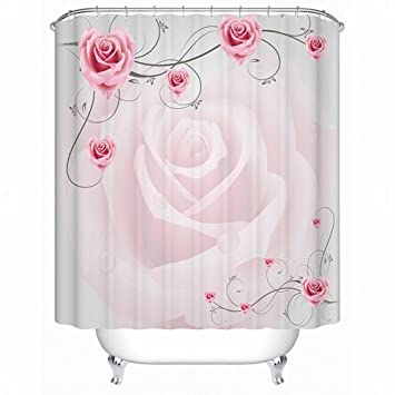 Alicemall Rose Shower Curtain Superior Romantic Graceful Pink Rose 3D Shower  Curtain Fabric Waterproof Polyester Pink