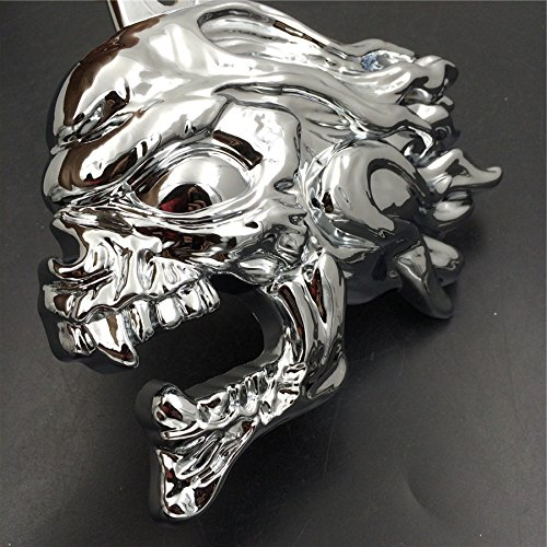 NBX-Chrome Ghost Head Wind head horn cover For Compatible with 1992 and up Harley-Davidson with side mountcowbell and all V-rods