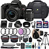 Canon EOS Rebel SL2 DSLR Camera with EF-S 18-55mm f/4-5.6 IS STM Lens + 2 Memory Cards + 2 Auxiliary Lenses + HD Filters + 50'' Tripod + Premium Accessories Bundle (24 Items)